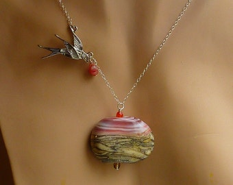 SALE Necklace: 50% Off SRA handmade focal bead with Desert Sunset scene and a Swallow on Sterling Silver chain