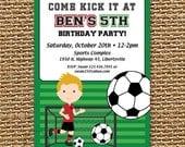 Soccer Invitation, Soccer Party, Soccer Birthday, Soccer Invite, Printable Invitation, Sports Birthday, Boys Birthday, Let's Kick It
