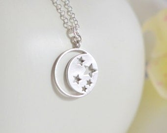 Simple Moon and Stars Necklace in Silver.  Pendant Necklace.  Necklace. Gift for Her. Bridesmaid Jewelry. Moon Necklace. Jewelry Gift.