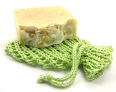 Soft Green Soap Holder Drawstring Pouch Cotton Knit Spa Cloth Bath Accessory Soap Saver Sack