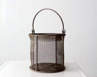 vintage wire mesh basket, metal bucket