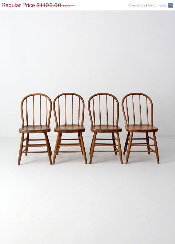 Antique Spindle Bow Back Chair Set Of 4 Wood Dining By 86home