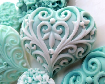 HEART SOAPS, Set of 8, Bed of Hearts, Teal & White, Valentine's Day, Custom Scented, Vegetable Based, Wedding Favors, For Her, For Mom