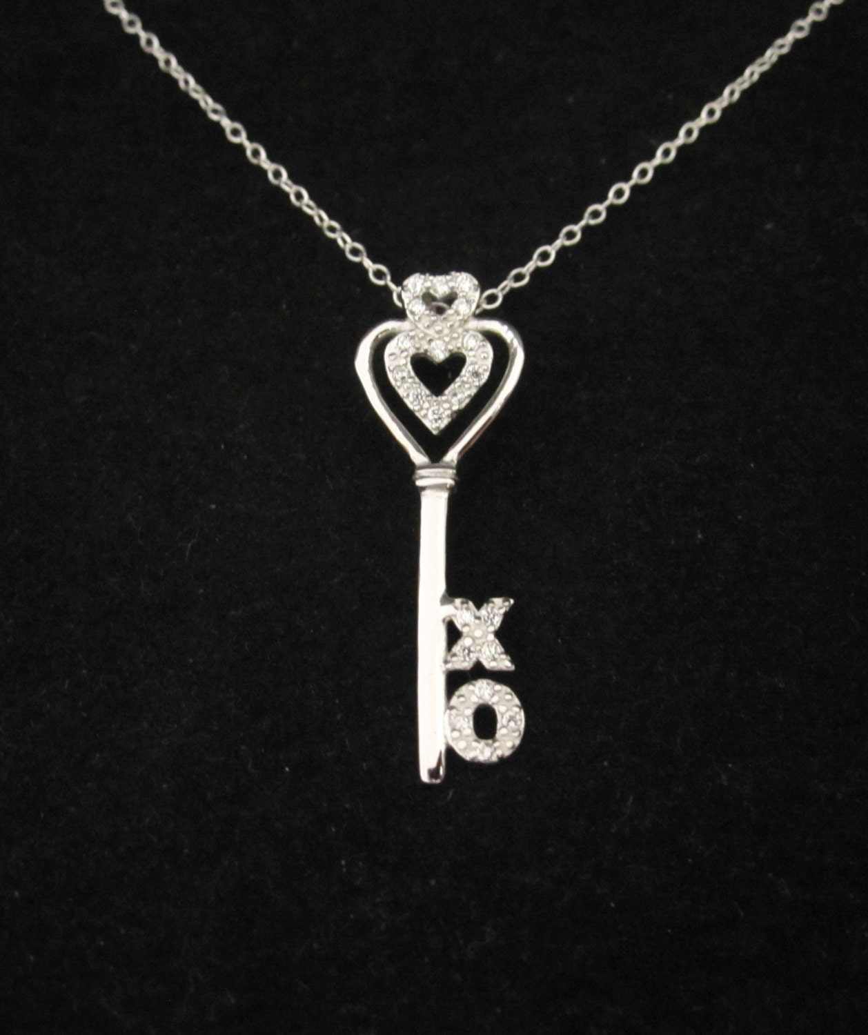 cz key xo sterling silver pendant with necklace chain