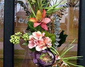 Spring & summer flowers swag, door wreath, table centerpiece,  French country cottage, hydrangea, artichoke, berries, woodland wedding