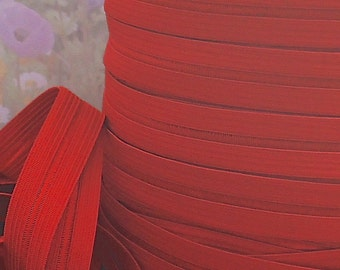 5yds Elastic Band Red Fold Over for HeadBands Hair ties 5/8 inch FOE Red Stretch Trim Lingerie Elastic By The Yard