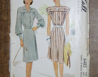 Vintage McCall's Pattern, Ladies' and Misses' Dress, 6485 Size 18