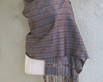 Handwoven Shawl with a Beautiful Drape - Lovely Subtle Colors - Stripe Shawl
