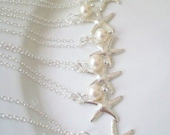 Set Of 6 Bridesmaid Necklaces,Swarovski Pearls, Silver Starfish, Pearl & Starfish Necklace, Beach Nautical Wedding, Set of 6 Necklaces