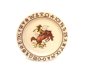 Vintage Wallace China Rodeo Westward Ho 10 inch Dinner Plate Till Goodan Cowboy Dishes