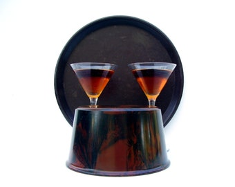 Mid century Barware Vintage Bolta Ice Bucket Cocktail Tray Brown Swirl Bakelite Boltaware Party Retro Bar Serving Set