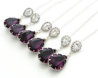 Purple Bridesmaid Necklace Set Of 3 Bridesmaid Gifts, Amethyst Bridesmaid Jewelry, Purple Wedding Jewelry, Purple Swarovski Pendant Necklace
