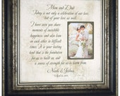 Personalized Wedding Gift for Parents Bride Groom Grandparents Mom Dad Father Mother Photo Mat Frame 16x16