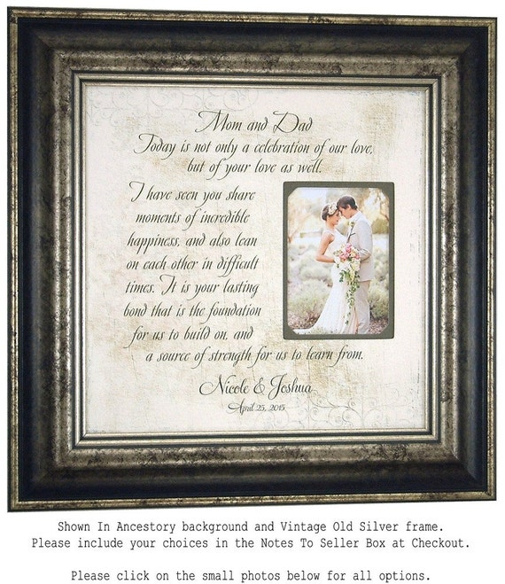 Wedding gift for parents mother of the by photoframeoriginals for Parent gifts for wedding