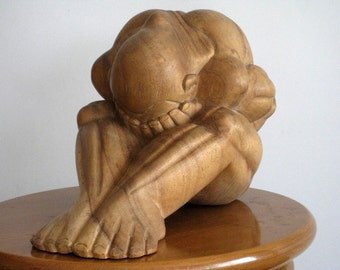 Meditating Yogi Handcarved in Teak Wood - Vintage sculpture from Bali - Asian Style