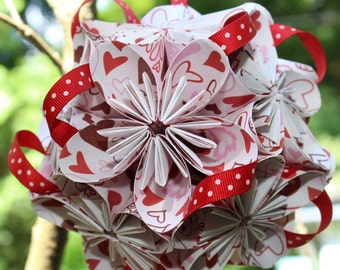 Hearts Flower Ball with red poker dot ribbon