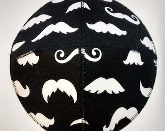Mustache Saucer Kippah/Yarmulke Black and White