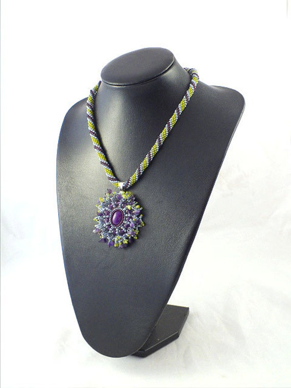 Beads rope necklace with jade cabochon pendant ,bead embroidery, amethyst and peridot ,statement necklace, beadwork