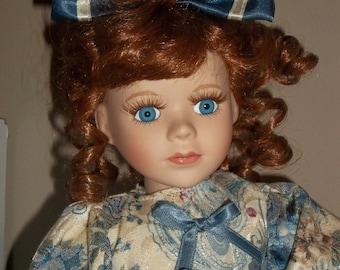 Dan Dee The Collector's Choice Series Porcelain Doll teddy bear Redhead blue eyes