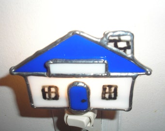 LT Stained glass, night light, lamp, blue white house, my hand made in the USA, reality sales, unusual, unique gift, fused glass, glass art