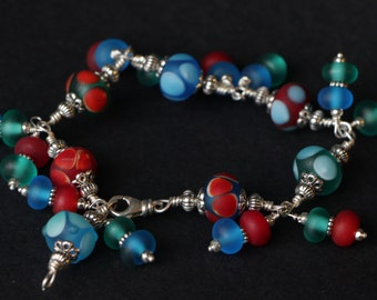 Beautiful Coral, Turquoise, Teal Etched Glass Beaded Sterling Silver Wire Wrap Bracelet