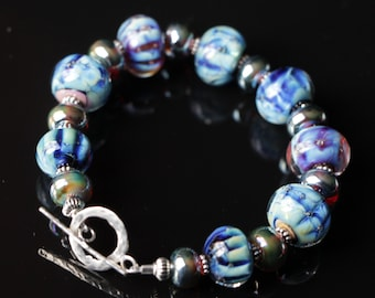 Silver Glass Blue  Purple Lampworking Sterling Silver Toggle Clasp