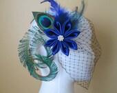 Wedding Peacock Fascinator, Royal Blue Kanzashi Flower Bridal Head Piece, Sapphire Blue Hair Flower with Feathers & Birdcage