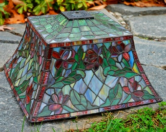 "14"" Square Floral Stained Glass Lamp Shade"