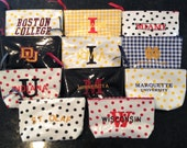 Small Cosmetic Bag Graduation Gift Teen Gift College Girl Gift Wisconsin/ St. Olaf/ Boston College/ Miami of Ohio/ St. Thomas/ Notre Dame