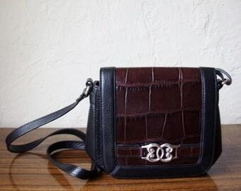 Brighton Black Leather Brown Moc Croc Cross Body Shoulder Handbag
