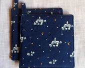 Christmas Navy Blue Snow Village Yellow Moon Stars Potholders Set of 2