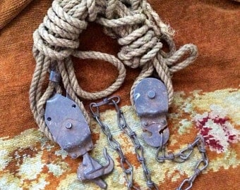 Hurry And Buy This Vintage Hoist Pulley & Rope Before I Hang A Chandelier From It
