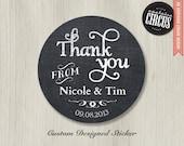 Custom Wedding Stickers - Chalkboard Thank You
