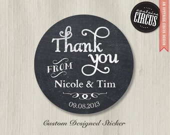 Custom Wedding Stickers - Chalkboard Thank You
