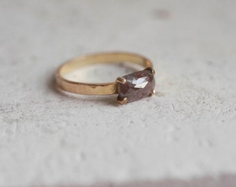 Rust Rectangle Rose Cut Natural Diamond Ring | Solid 14k Recycled Gold | Limited Edition