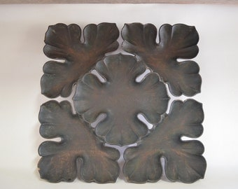 Large hand carved wood plate 4640, 41 cm