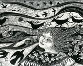 Art Card Shamanka's Dream from Scraperboard design