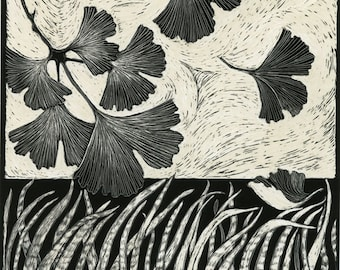 Art Card of Gingko leaves and grasses from Scraperboard design