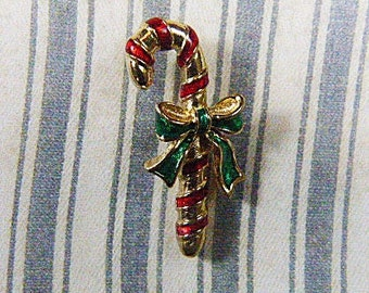 Vintage AVON Candy Cane Enamel and Gold Tack - BR-386 - AVON Brooch - Candy Cane Brooch - Avon Candy Cane