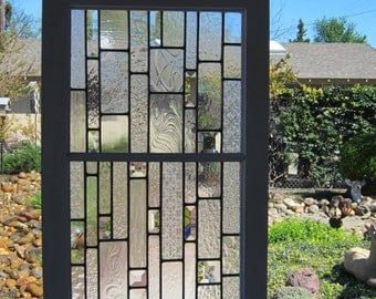 Reclaimed Wood Window with Bevels and Clear Architectural Glass
