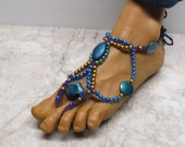 Blue, purple, green, and gold  barefoot sandals made with hand-dyed hemp. Poolside and bellydancers!  HFT-531