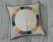 Quilted Pillow Cover + Round Patchwork Placemat pdf pattern / instant download