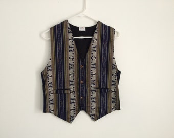 1980s Southwestern Hipster Ethnic Tribal Geometric tapestry vest wth wooden buttons and elephant print