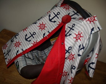 Carseat Canopy Anchor Nautical Theme Cover