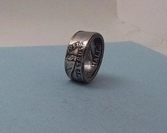 Unique Gift.  Silver coin ring 1957 Franklin Half dollar 90% fine silver jewelry size 9 1/2