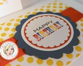 Happy Birthday - Burnt Yellow Polka Dots with Red and Blue accents - Invitations - Note Cards