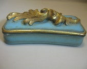 Jewelry Trinket Cigarette 2 Sided Blue Box Gold Leaves Handle Trim Vintage 1940