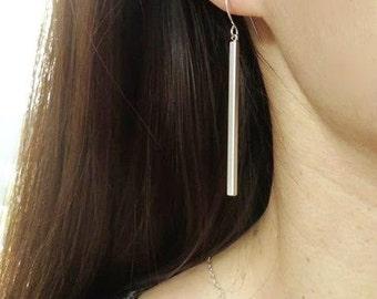 Silver Bar Earrings. Bar Earrings. Simple Earrings. Long Earrings. Dangle Earrings. Statement Earrings.Minimalist.Simple. Everyday.Delicate.