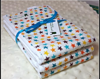 Baby Burp Cloth Set - Colorful Stars