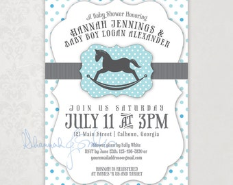 Baby Boy Shower Invitation Blue Gray Polka Dot Rocking Horse Print Your Own